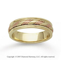 14k Two Tone Gold Fine Twist Hand Carved Wedding Band